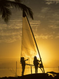 Little Girls Play with Dew on a Sail at Dawn  Key Largo  Florida