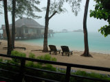 View of the Beach at a Dive Resort on Derawan Island on a Rainy Day