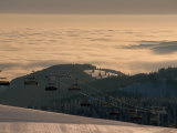 Ski Lift in Early Morning Light  Nature Park Suedschwarzwald  Germany
