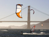 People Wind Surfing and Kitebording in the San Francisco Bay  California