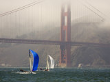 International 14 Skiffs Race under the Golden Gate Bridge  San Francisco Bay  California