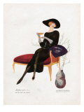 Woman Drinking Tea  Magazine Plate  Spain  1921