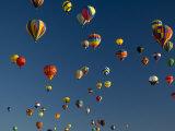 Hot Air Balloons Fly in a Hot Air Balloon Festival  Albuquerque  New Mexico  USA