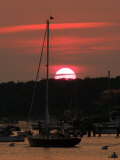 Boats at Sunset in a Harbor in Chatham  Cape Cod  Massachusetts