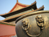 Bronze Urn with Lion Handles Inside the Forbidden City  Forbidden City  Beijing  China