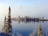 Morning Mists Lifting Off of Lewes Lake  Lewes Lake  Yukon Territory  Canada