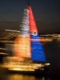 Time Exposure of a Holiday Lights Sailboat Parade  Lewes  Delaware