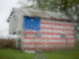 Raindrops on a Window Diffuse American Flag Painted on Shed  Dover  Delaware