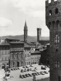 Piazza Della Signoria in Florence with the Belltower of the Badia Fiorentina and the Bargello Tower