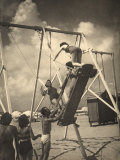 Group of Youths Having Fun on a Swing at the Beach