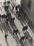 View from Above of a Street Crowded with Passersby
