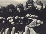 Young Women Knitting