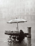 Old Woman Selling Fruit in the Square Whilst it Rains