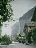 Lauterbrunnen  a Town in the Waterfall Valley in Switzerland