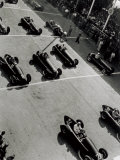View from Above  of a Few Racing Cars  Waiting for the Starting Signal