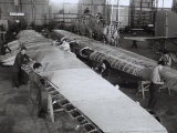 Workers on the Wing of an Airplane in the Caproni Factory in Predappio