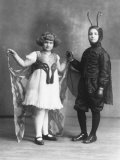 Portrait of Two Children in Carnival Costumes  She is a Butterfly  He is a Caterpillar