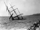Half-Sunken Ship after a Storm  in Trieste  Italy