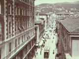 Aerial View of Via St Antonio  in Trieste  with the Hill of Scorcola