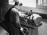 Worker at Work in the SAMP Mechanical Factory in Bologna  Producer of Precision Mechanisms