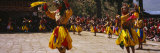 Dancers Performing in a Traditional Paro Tsechu Festival  Paro  Bhutan