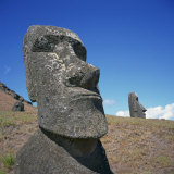 Moai Statues Carved from Crater Walls  Easter Island  Chile