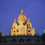 Sacre Coeur Illuminated at Dusk  Montmartre  Paris  France  Europe