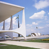 Palacio Do Planalto in Foreground  Brasilia  UNESCO World Heritage Site  Brazil  South America