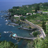 Houses and Rocky Coastline in the South of the Island of Sao Miguel in the Azores  Portugal