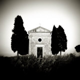 Old Church of Vitaleta Flanked by Trees in Silhouette  San Quirico D'Orcia  Tuscany  Italy