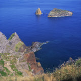Rock Formations on the Volcanic Coastline on the Island of Graciosa in the Azores  Portugal