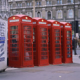 Line of Four Red Telephone Boxes at Charing Cross  London  England  United Kingdom  Europe