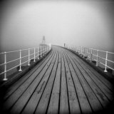 Timber Boardwalk of Whitby Pier on Misty Winter's Day  Whitby  North Yorkshire  England  UK