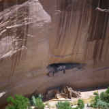 Cliff Dwellings under the Rock Face in the Canyon De Chelly  Arizona  USA