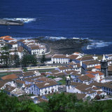 Houses and Coastline in the Town of Santa Cruz on the Island of Graciosa in the Azores  Portugal