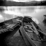 Two Old Boats by Lake Side  Derwentwater  Lake District National Park  Cumbria  England  UK
