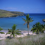 Beach and Coastline at Playa Anakena  on the North Coast of Easter Island  Chile