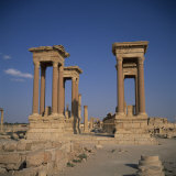 Tetrapylon and the Columned Main Street Dating from the 1st Century AD  Palmyra  Syria