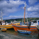 Fishermen on Fishing Boats Moored on the Beach at Dalcahue Village on Chiloe Island  Chile