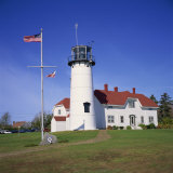 American Flag Flying Beside the Chatham Lighthouse at Cape Cod  Massachusetts  New England  USA