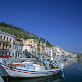 Boats and Buildings on the Waterfront in the Seaside Town of Neapoli  Peloponnese  Greece