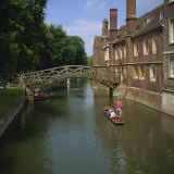 Queens College and Mathematical Bridge  Cambridge  Cambridgeshire  England  United Kingdom  Europe