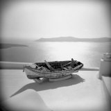 Wooden Boat on Roof Garden  Firostephani  Santorini  Cyclades  Greek Islands  Greece