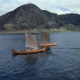 Replica Viking Ships  Oseberg and Gaia  Near Ulstenvik  Norway  Scandinavia  Europe