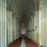 Interior of 12th Century Romanesque Church  Cunault in Anjou  Pays De La Loire  France