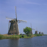 Windmills on the Canal at Kinderdijk Near Rotterdam  UNESCO World Heritage Site  the Netherlands