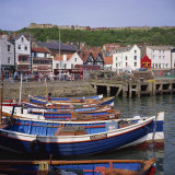 Fishing Boats in the Harbour  with the Castle on the Hill Behind  Scarborough  Yorkshire  England