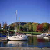Camden Harbour with Fall Colours and Mount Battie in the Background  Maine  New England  USA