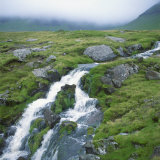Stream Rushing over Rocks in a Wet Misty Environment  Estoroy Island  Faroe Islands  Denmark