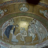 Mosaic Showing Jesus Christ Washing the Feet of Peter  in the Monastery of Hosios Lucas  Greece